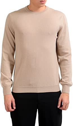 MALO Men's 100% Cashmere Beige Pullover Sweater US XL IT 54