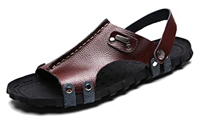 7c47f2dcaaa2 Femaroly Summer Men s Leather Sandals Beach Breathable Casual Flip-Flops  Light Slippers Brown ...