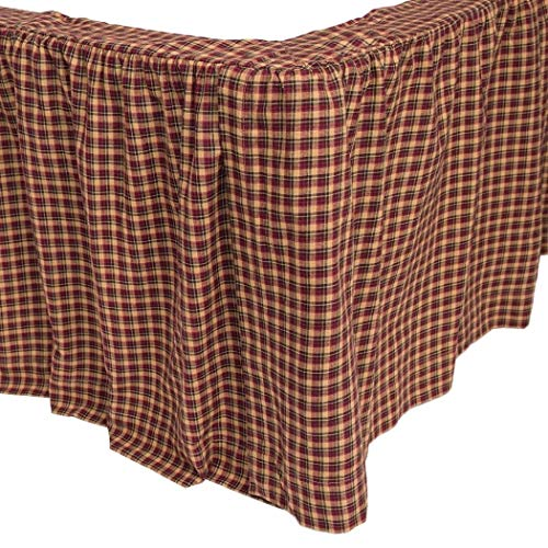 ON Red Tan Blue Plaid Pattern Bed Skirt King Size, Elegance All Over Classic Gingham Checkered Design Ruffled Bed Valance, Classic Casual Rustic Style, Vibrant Colors, Cotton, Machine Wash