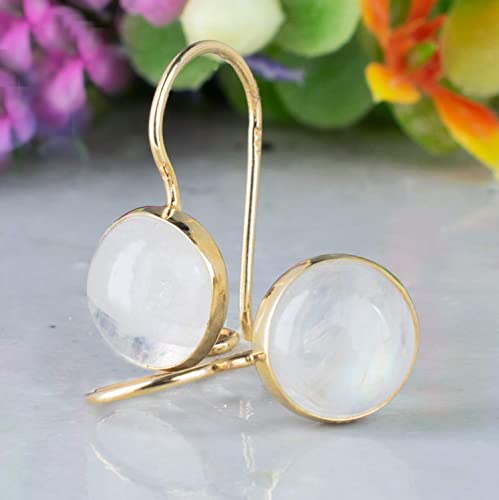 14K Gold Moonstone Drop Earrings - 14K Solid Yellow Gold White Natural Stone Earrings, June Cancer Birthstone 8mm Round Gemstone, Wedding Jewelry for Classy Brides, Dainty Handmade Gift for Women