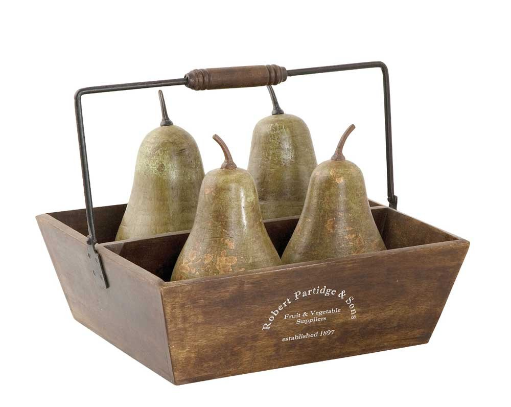 Uttermost Pears in Basket, Set of 5
