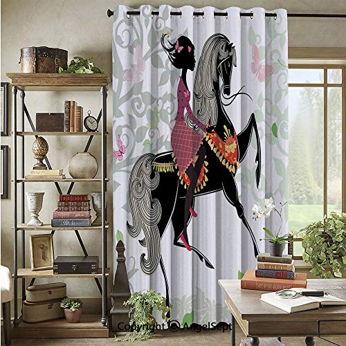 Grommet Blackout Curtain,Spring Inspired Art Composition Girl on Pony with Ornaments Leaves Butterflies,72x96inch,for Patio Door,Multicolor
