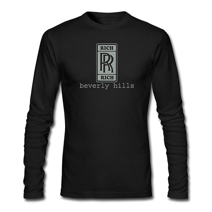 7bdaf7891e648 2016 moda Hombre Rico Rico por WAM manga larga camisetas de manga larga  Negro  Amazon.es  Ropa y accesorios
