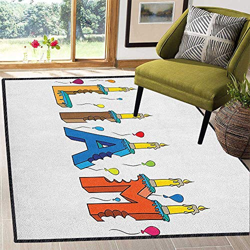 Liam Non-Slip Area Rug Pad,English First Name in a Colorful Letter Style Cake Design with Bite Marks and Candles for Living Room Nursery Multicolor 67
