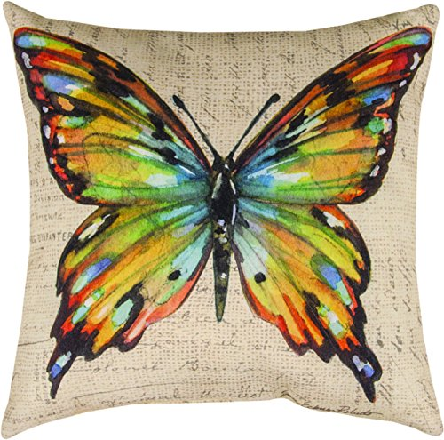 Butterfly Wings Postcard - MWW Manual Woodworkers & Weavers Indoor/Outdoor Climaweave Throw Pillow, Butterfly Wings Multicolor, 18
