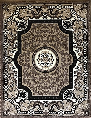 Americana Traditional Persian Area Rug Beige Brown Ivory Carpet King Design 101 (6 Feet X 9 Feet) (Rugs And Brown Beige Black Area)