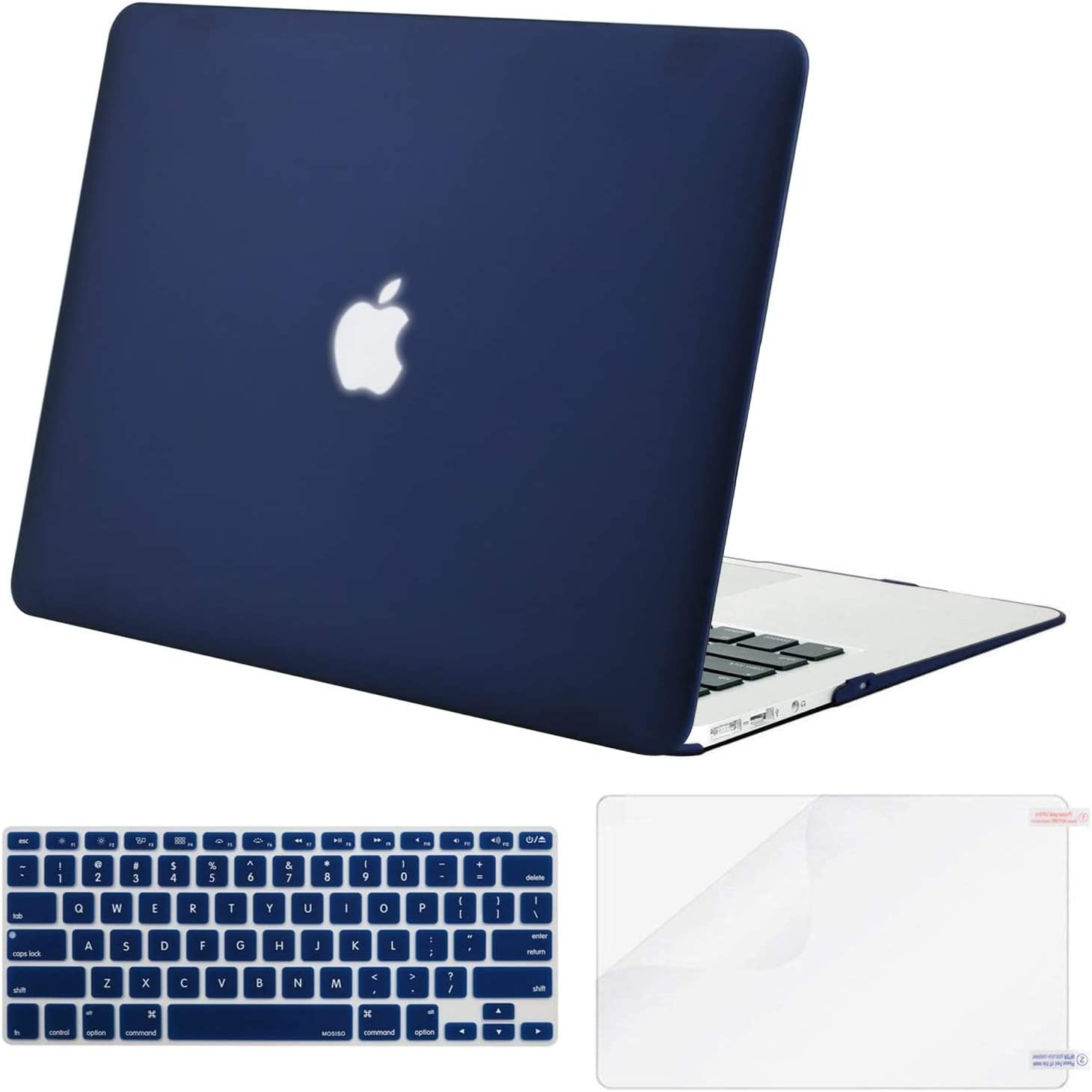 MOSISO Plastic Hard Shell Case & Keyboard Cover Skin & Screen Protector Only Compatible with MacBook Air 11 inch (Models: A1370 & A1465), Navy Blue