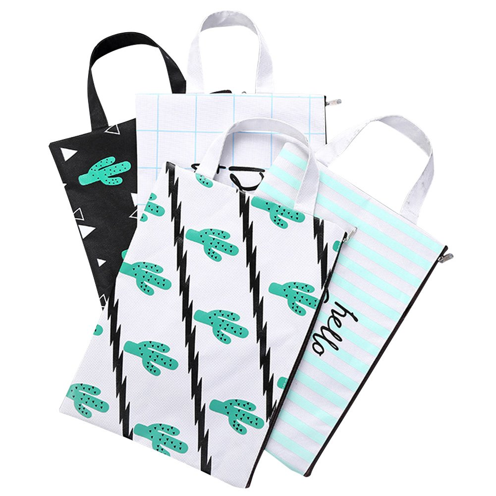 Lzttyee 4Pcs Oxford Fabric A4 Size File Bags Document Holder Cactus Pattern Folder File Organizers Storage Bag for School Office