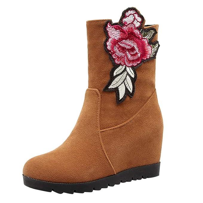 Mujeres Ante Botas Zapatos Casuales ZARLLE Retro Bordado