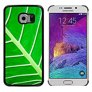 GIFT CHOICE / Teléfono Estuche protector Duro Cáscara Funda Cubierta Caso / Hard Case for Samsung Galaxy S6 EDGE // Bright Green Leaf Pattern //