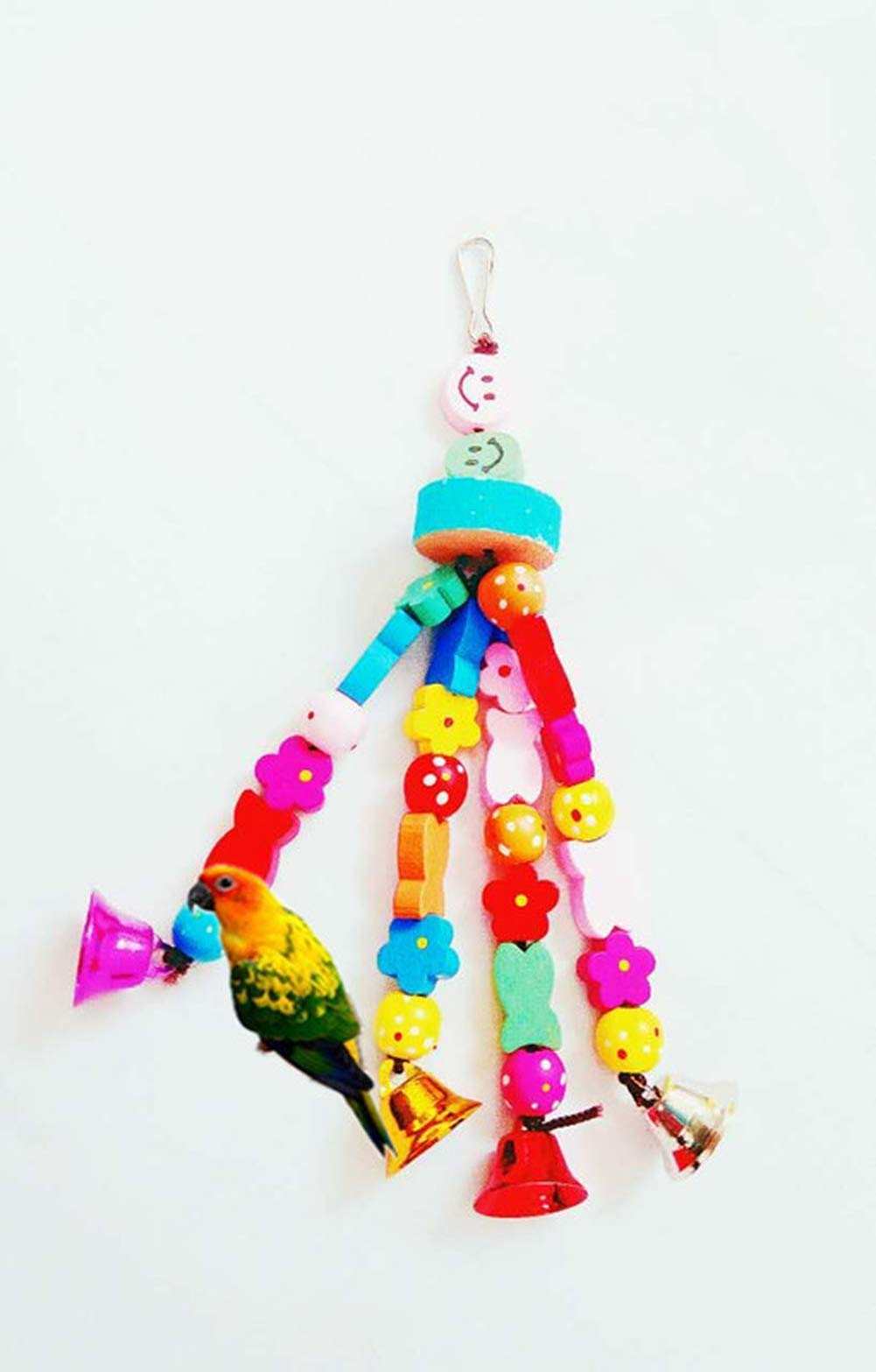 Yevison Bird Bell Frosted Molar Bells String Wooden Toys bite Parrot Swing Stand Ladder Ladder Bird cage Supplies by Yevison