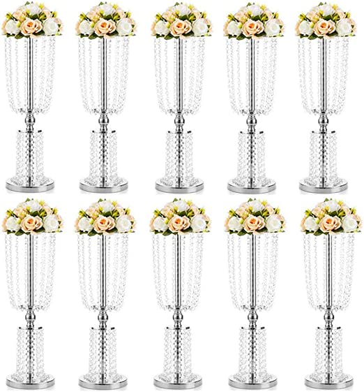 Flor Artificial Escalera para Flores Boda Centro,2 PCS Mesa Metal Flor Flor Trompeta Flor Flor para Mesas De Recepción Suministros De Boda Plata 10 Pcs: Amazon.es: Jardín