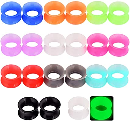 Details about  /36pcs Thin Flesh Tunnels Silicone Ear Skins-Ear Gauges Soft Ear Plugs 6mm-20mm