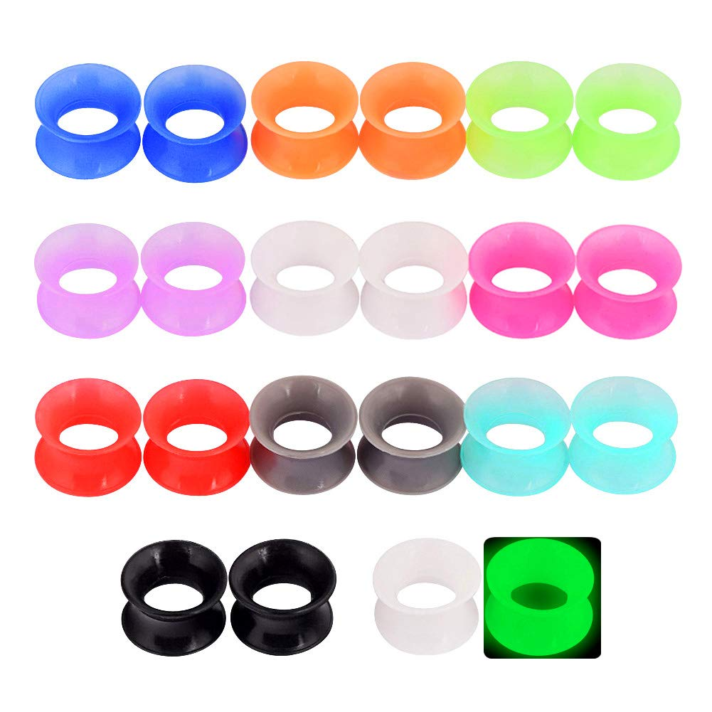Longbeauty 11 Pair Thin Silicone Ear Skin Flexible Flesh Double Flared Ear Tunnels Expander Plugs Stretcher 11 Colors-8mm by Longbeauty