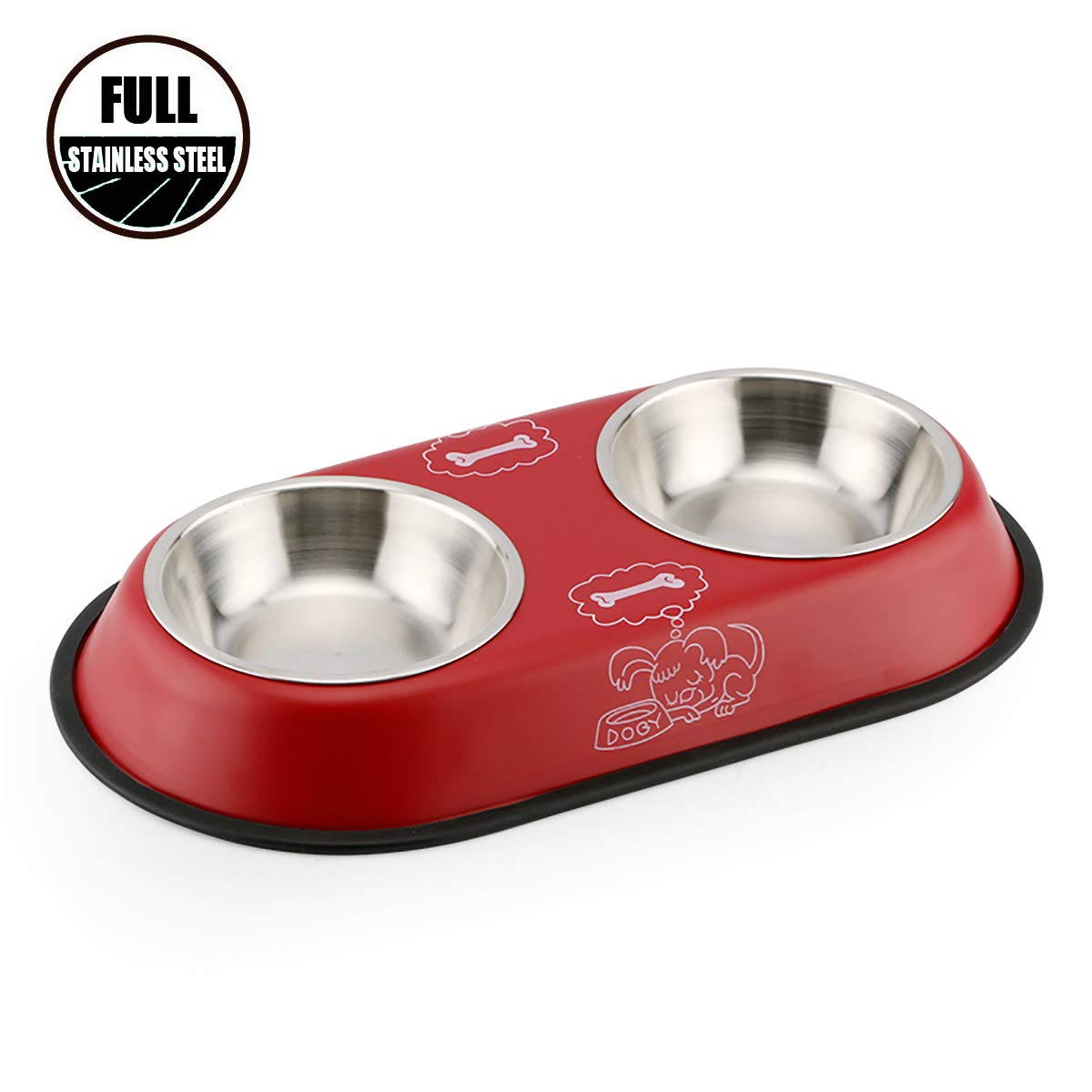 Pet food tray rubber bottom know one