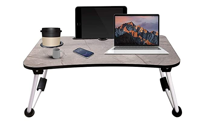 Local Vocal Zone ™ Multi Purpose Laptop Table with Dock Stand   Study Table   Bed Table   Foldable and Portable   Ergonomic & Rounded Edges   Non-Slip Legs (Marble Light)