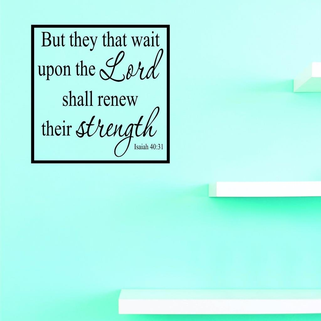 Black 18 x 18 Design with Vinyl US V JER 2553 3 Top Selling Decals But They That Wait Upon The Lord Shall Renew Their Strength Isaiah 40:31 Wall Art Size X 18 Inches Color