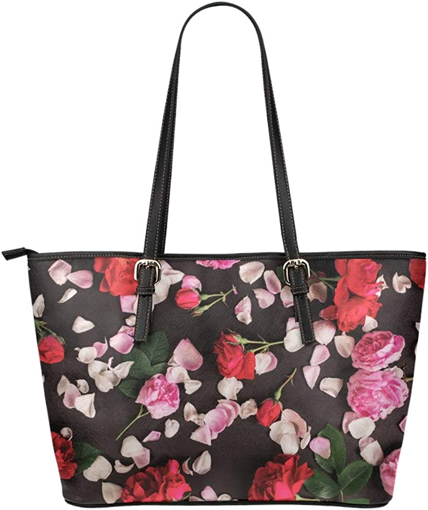 Travel Bags For Boys Romantic Rose Red Fragrant Flower Leather Hand Totes Bag Causal Handbags Zipped Shoulder Organizer For Lady Girls Womens Tote Zip