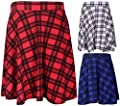 Girlzwalk Womens New Tartan Check Printed Ladies Stretch Elasticated Waistband Fit Flared Skater Skirt Plus Size