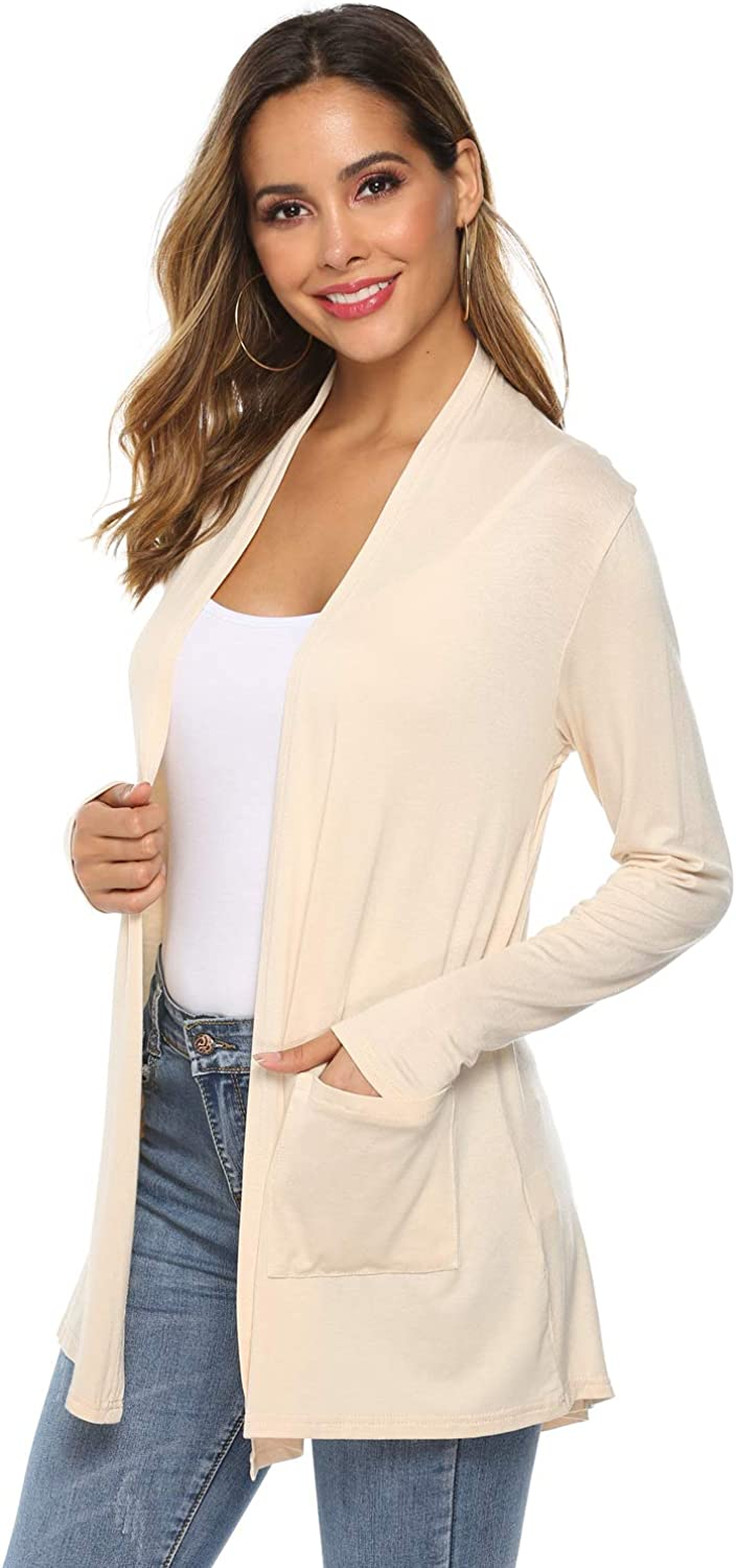 POGTMM Women's Casual Lightweight Summer Open Front Long Sleeve Cardigan with Pockets (06Beige, XL(16 18))