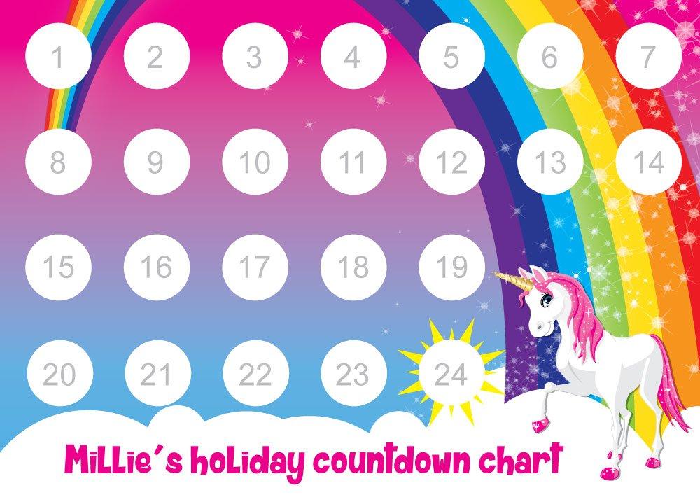 Personalised Holiday Countdown Reward Chart With 24 Stickers Unicorn And Rainbow Design Amazon Co Uk Handmade