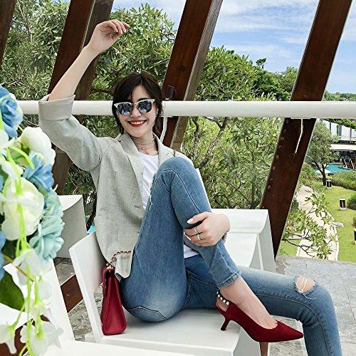 Imitación Femeninos de Primavera Diamantes de Solo Zapatos de Temperamento Zapatos de Tacón 36 Rojo Taladro Negro con DHG Puntiagudo Tacón qTvFF