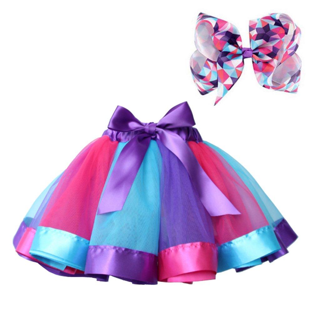 BGFKS Layered Ballet Tulle Rainbow Tutu Skirt for Little Girls