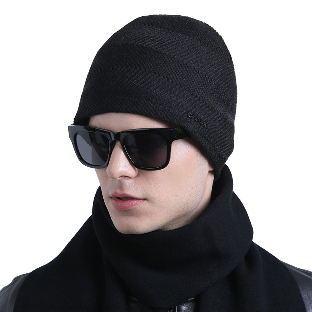 CACUSS Men's Classic Wool Beanie Hat Knit Skull Ski Caps with Fleece Lined Z0079black