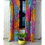 Sophia Art Beautiful Flower Ombre Mandala Tapestry Curtains, Boho Curtains, Tapestry Drapes, Mandala Wall Hanging, Indian Curtains Mandala Window Treatment Door Hanging (Multi)