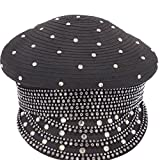 June's Young Women Hat for Church Party Army Style Stones Black