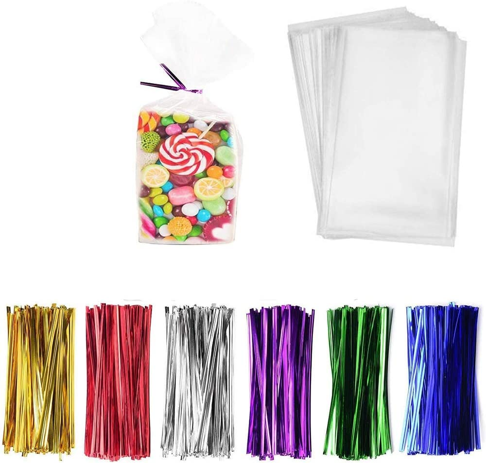 """LiyuanQ 300 Pcs Clear Candy Bags Clear Cellophane Bags 4""""x9"""" Cookie Bags with 6 Mix Colors Twist Ties - 1.4mils Thickness OPP Plastic Bags for Wedding Birthday Cake Pop Gift Candy Buffet Supplies"""