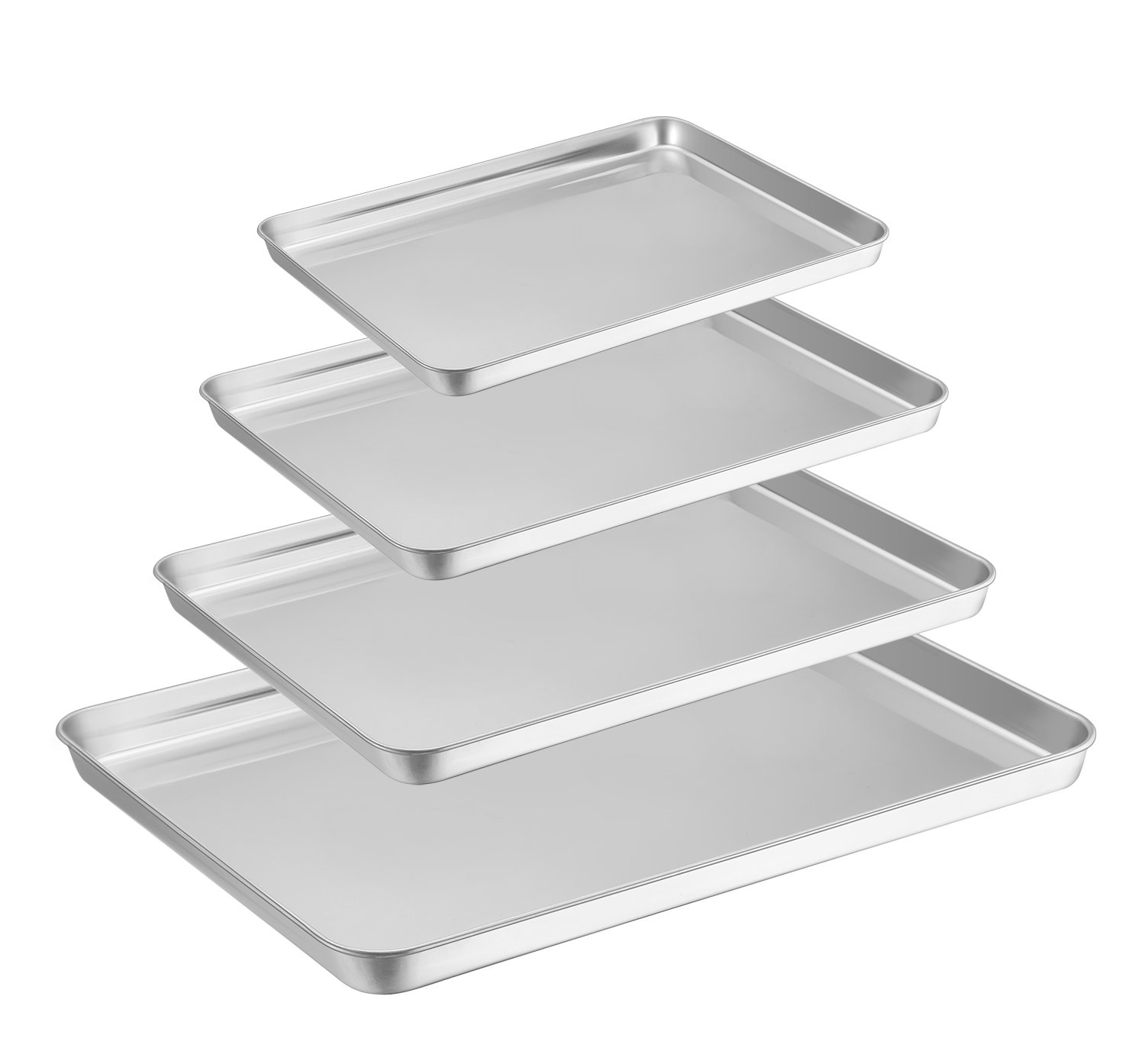 Baking Tray Set of 4, HaWare Stainless Steel Baking Sheet –Rimmed Pan Baking Sets -Healthy & Non Toxic, Easy Clean & Dishwasher Safe