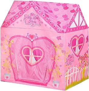Tienda de Juegos para niños Patrón de Dibujos Animados de Color Rosa y Verde Casa de Juegos de Princesa Game Castle Tiendas de campaña (Solo una Tienda de campaña) (Color : #A):