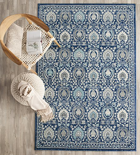 Safavieh Evoke Collection EVK251C Contemporary Blue and Ivory Area Rug (4′ x 6′)