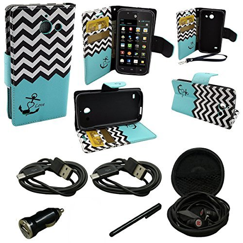 (Mstechcorp - Huawei Tribute Y536 (AT&T) - Design Dual-Use Flip PU Leather BookFold Fold Wallet Pouch Kicktand Case Includes [Car Charger] + [Touch Screen Stylus] + [Hands Free Earphone With Carrying Case] + [2 Data Cables] (WALLET ANCHOR TEAL))