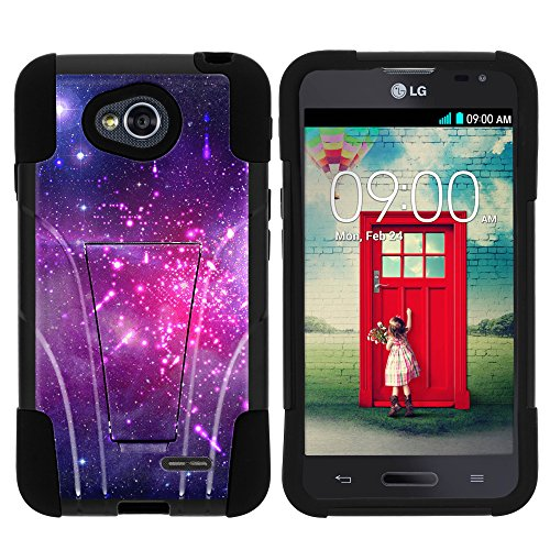 LG Ultimate 2 Phone Case, Durable Hybrid STRIKE Impact Kickstand Case with Art Pattern Designs for LG Optimus L70 MS323, LG Optimus Exceed 2 VS450PP, LG Realm LS620, LG Ultimate 2 L41C (Metro PCS, Verizon, Boost Mobile) from MINITURTLE | Includes Clear Screen Protector and Stylus Pen - Heavenly Stars