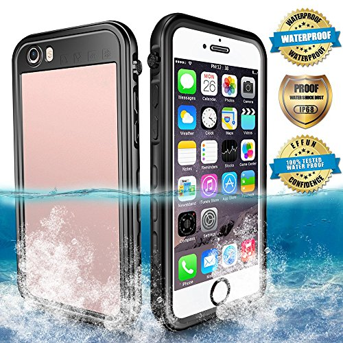 EFFUN Waterproof iPhone 6 Plus/6s Plus Case, IP68 Certified Waterproof Underwater Cover Dirtproof Snowproof Shockproof Case with Cell Phone Holder, PH Test Paper, Stylus Pen and Floating Strap Black