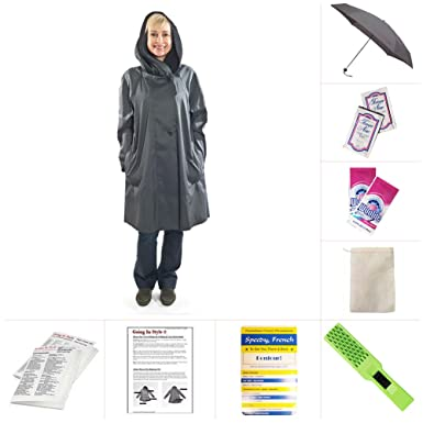 a49f20885847d8 Amazon.com  Mycra Pac Short Donatella Fashion Travel Raincoat  Clothing