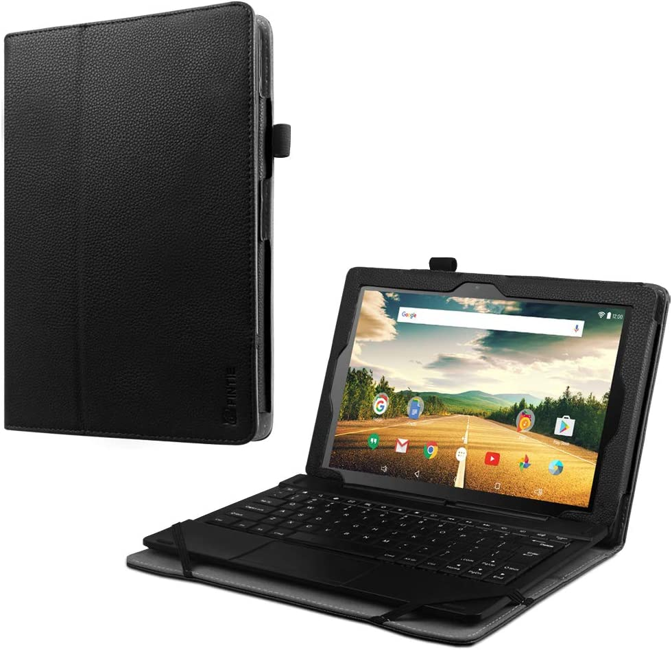 """Fintie Case for Smartab 10.1"""" 2-in-1 Tablet (ST1009XBK / STW1800) - Premium PU Leather Folio Cover with Stylus Holder for Southern Telecom Smartab with WiFi 10.1 inch Touchscreen Tablet PC, Black"""
