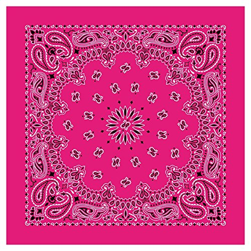 "100% Cotton Western Paisley Bandanas (22"" x 22"") Made in USA - Hot Pink Single Piece 22x22 - Use For Handkerchief, Headband, Cowboy Party, Wristband, Head Scarf - Double Sided Print -"