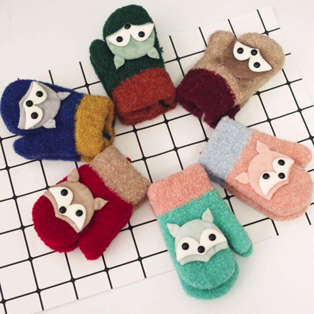 Infant Toddler Winter Gloves with String BSGSH Baby Boys Girls Cute Fox Mittens