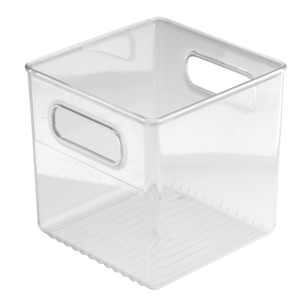 InterDesign Linus Bathroom Vanity Organizer Bin for Heath and Beauty Products/Supplies, Lotion, Perfume - Cube, Clear 69230