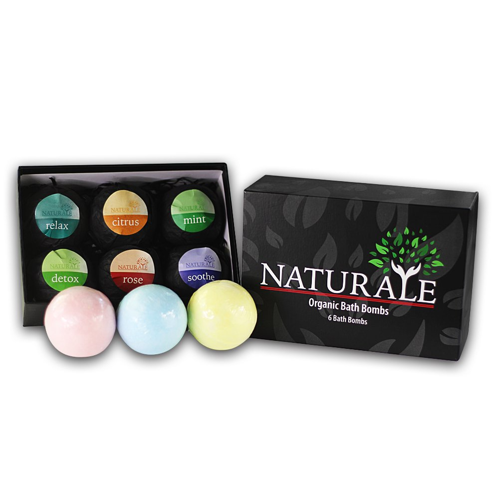 Supreme Long Fizz Naturale 100% Pure Organic Bath Bombs - 6 Bath Bomb Set - Pure Essential Oil - Vegan Friendly - Great For Gifts