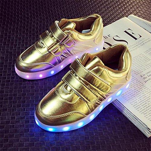 [+Kleines Handtuch]Korean Mode-Schuhe, LED-Licht-emittierende Leucht Lichter blinken Schuhe mit Klettverschluss für männliche und weibliche c1