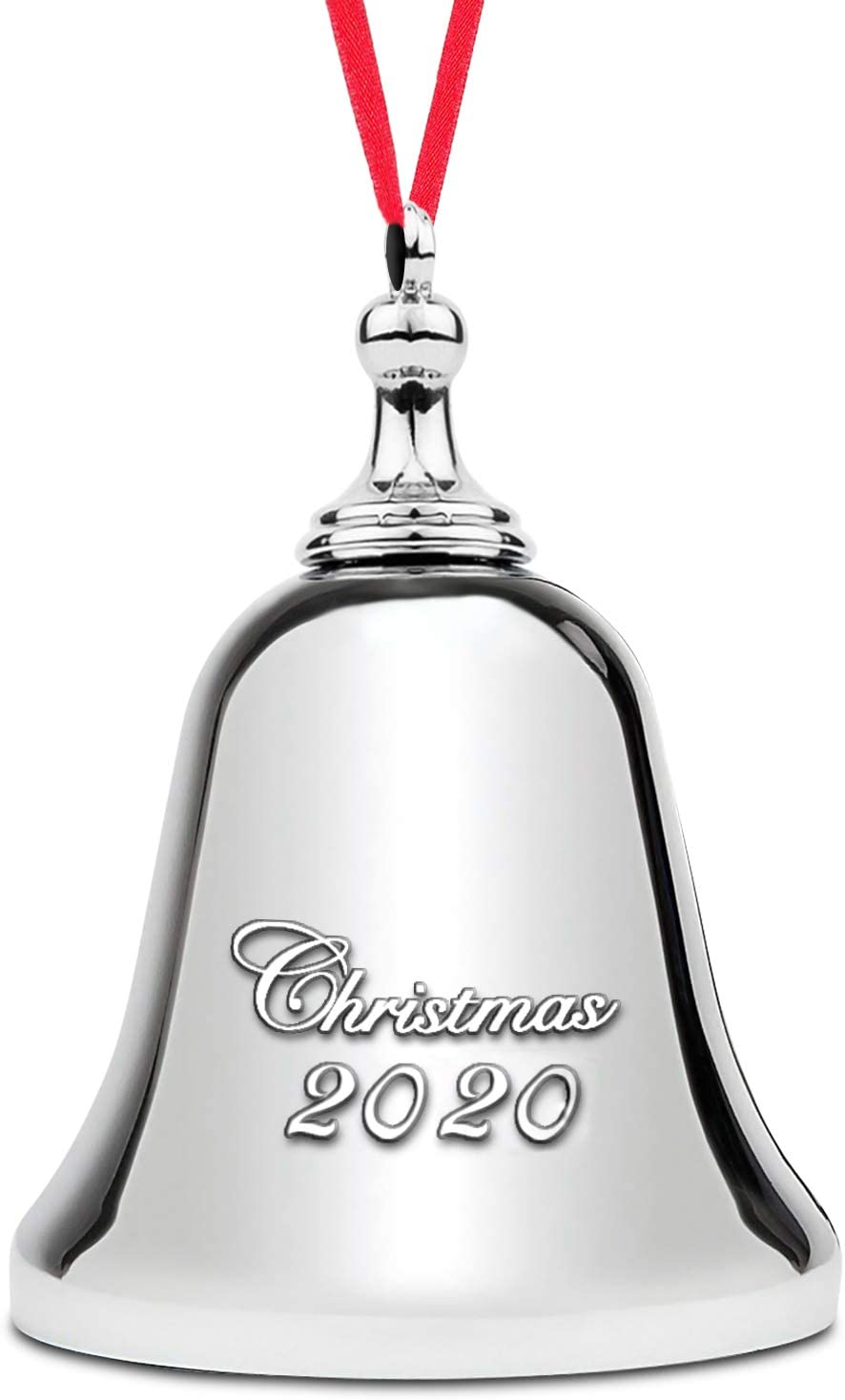 2020 Jingle Bell Ornament – Elegant Christmas Bell Ornament – Silver Bell Ornament for The Christmas Tree – Nickel-Plated 2020 Engraved - Real Bell Decoration with Red Ribbon