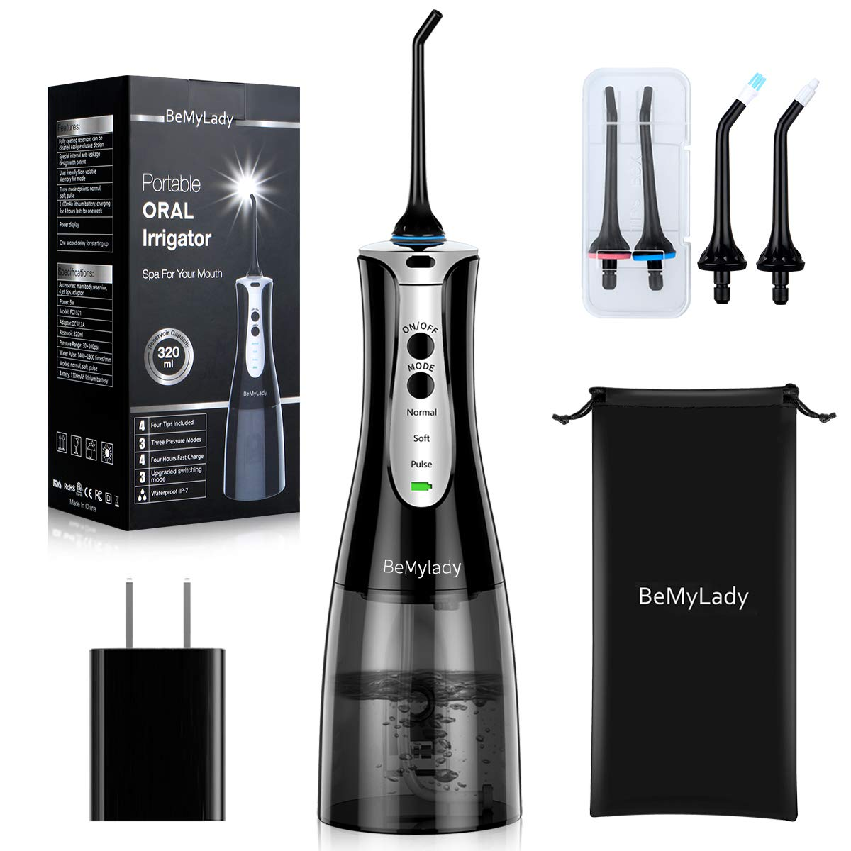 Cordless Water Flosser Pick Teeth Cleaner, BeMyLady 320ML Portable Water Flosser Pik Oral Irrigator for Travel, Home IPX7 Waterproof Water Dental Flosser with 4 Jet Tips for Braces and Teeth Whitening