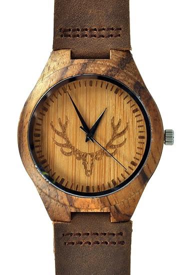 Munixwood Reloj de pulsera, madera de bambú, viene con caja: Amazon.es: Relojes