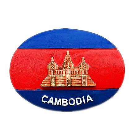 Hqiyaols Souvenir Bandera Angkor Wat Camboya Refrigerador 3D Imán ...
