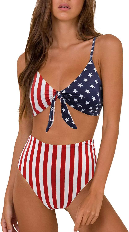 gepolsterte Push-Up-K/örbchen hohe Taille mit Knoten Blooming Jelly Damen-Bikini-Set