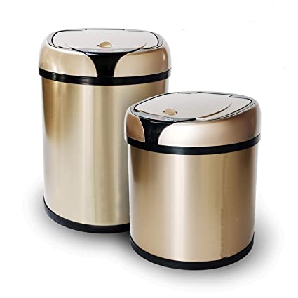 mumu new life stainless steel automatic trash can touchless automatic motion sensor trash can kitchen trash - Stainless Steel Kitchen Trash Can
